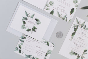 Greenery - Semi-custom Botanical Wedding Invitation Suite
