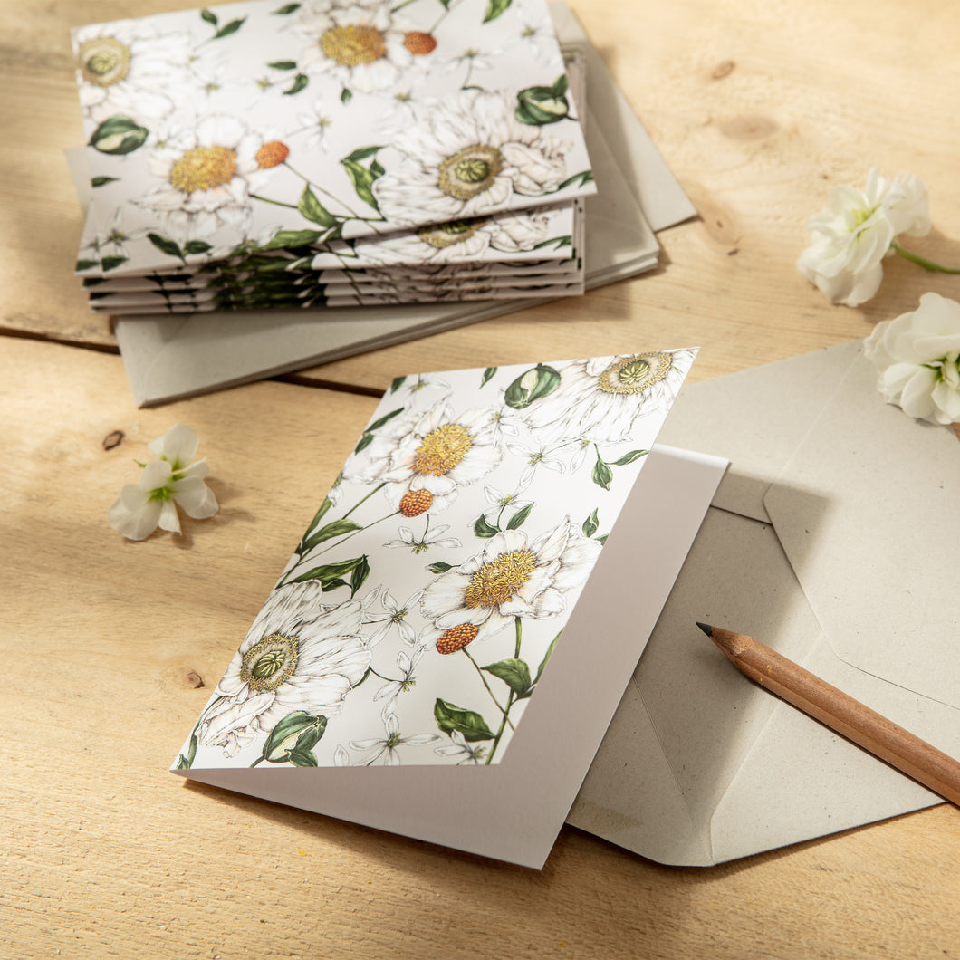 Spring Blossom - Pack of 6 Blank Cards - Grey