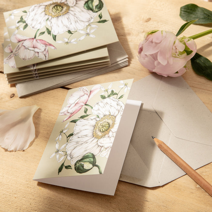 Spring Blossom - Pack of 6 Blank Cards - Green