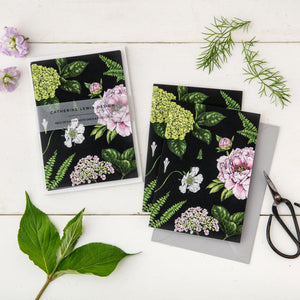 Summer Garden - Pack of 6 Blank Cards - Black