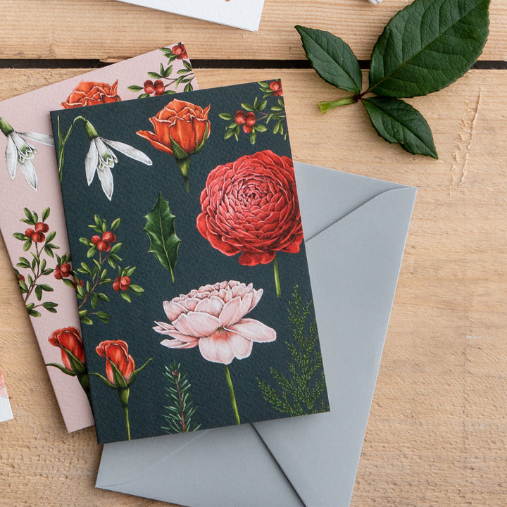 Berry Roses - Navy Christmas Card