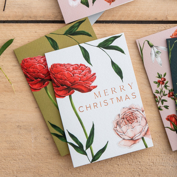 Berry Roses - Rose - White Christmas Card