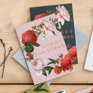 Berry Roses - Wreath - Pink Christmas Card