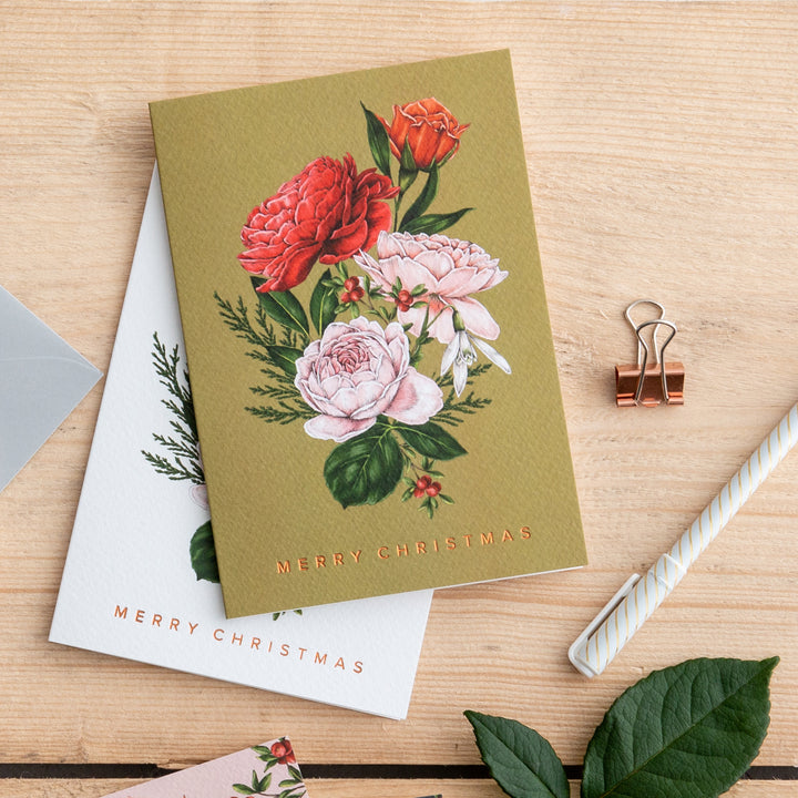 Berry Roses - Bunch - Green Christmas Card