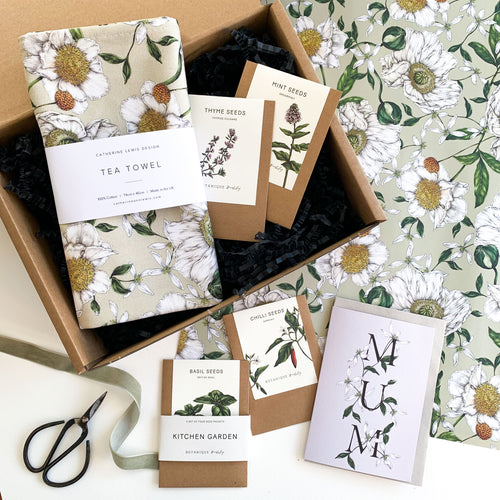 Mother's Day Gift Box - Spring Blossom Tea Towel, Kitchen Seeds & Card