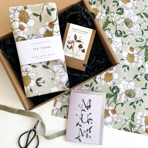 Mother's Day Gift Box - Spring Blossom Tea Towel, Sweet Pea Seeds & Card