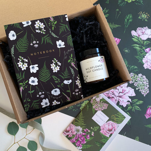 Mother's Day Gift Box - Wildflower Soy Candle, Hardback Notebook & Card