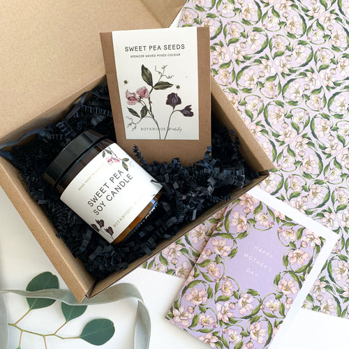 Mother's Day Gift Box - Sweet Pea Soy Candle, Seeds & Card