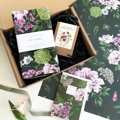 Mother's Day Gift Box - Summer Garden Tea Towel, Seeds & Card