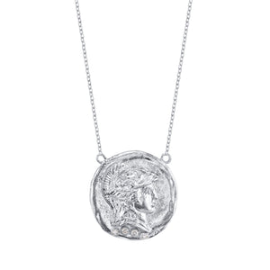 Sterling Silver Roman Necklace with Diamonds