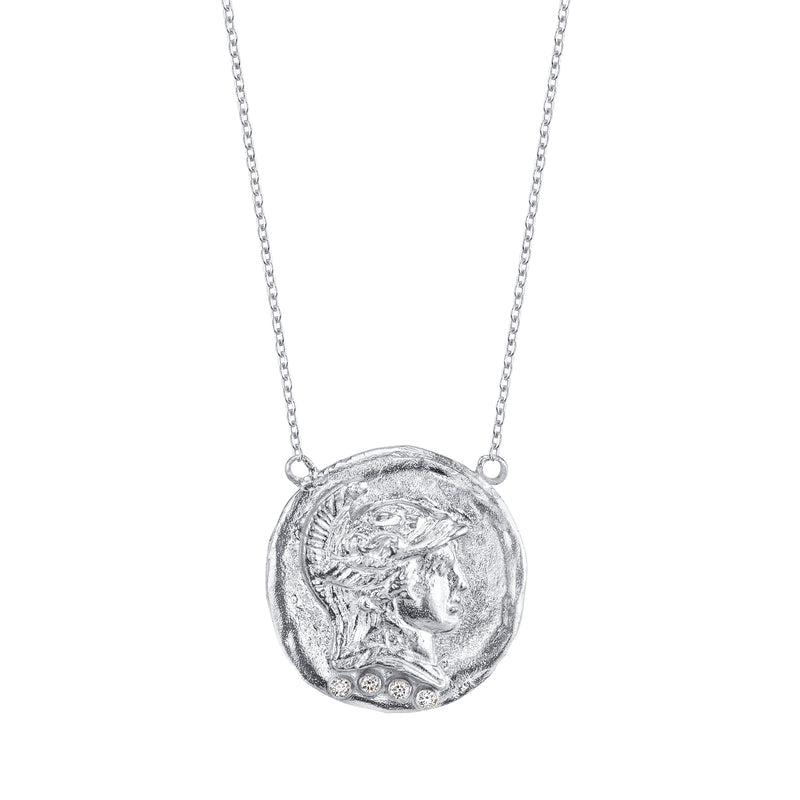The Roman Token Necklace Sterling Silver with Diamonds