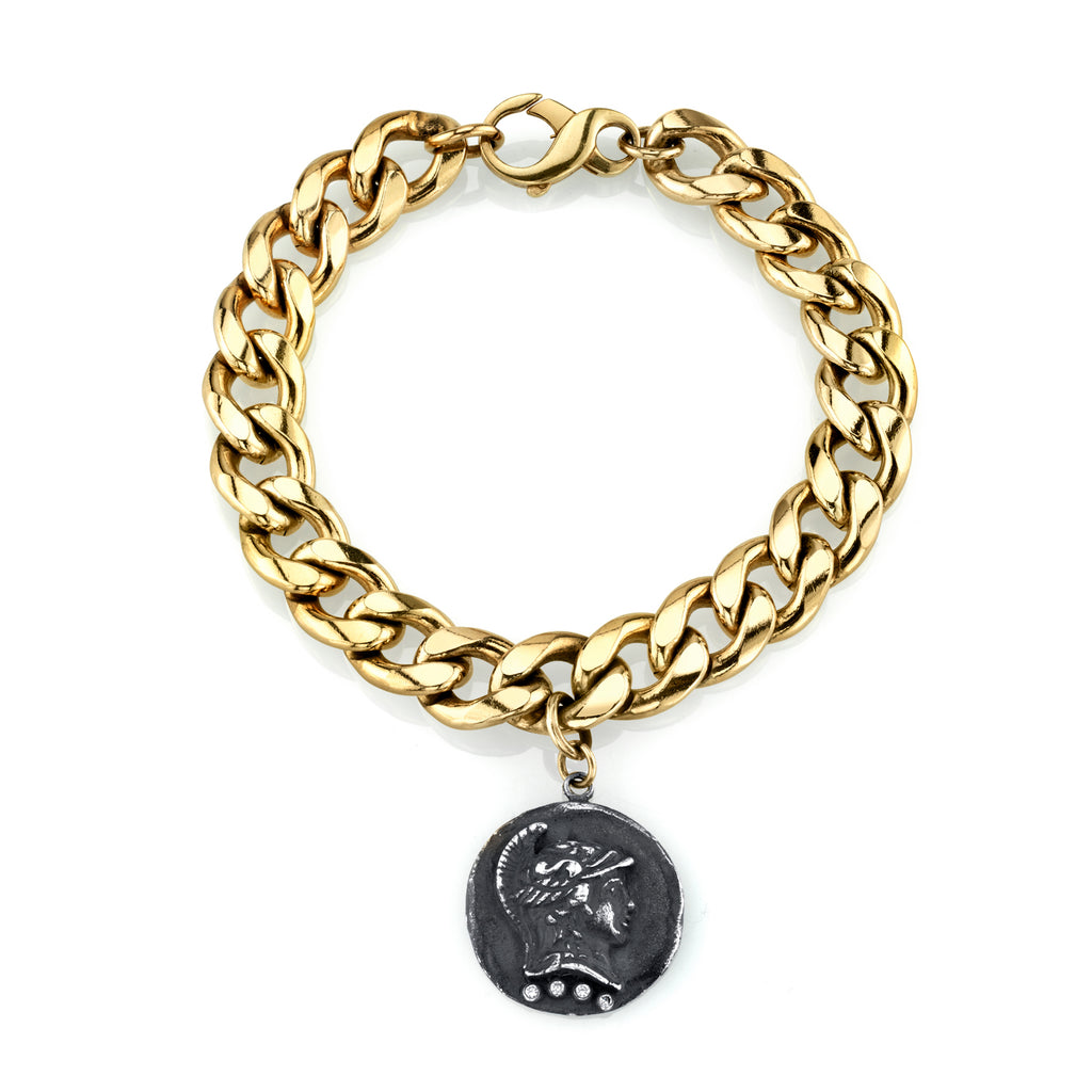 14k Gold Dipped Roman Bracelet with Diamonds