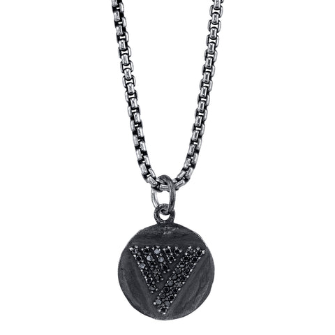 Gun Metal Black pendant with Black Diamonds