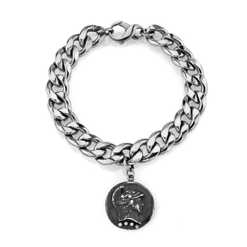Tracee Nichols Chunk Chain Bracelet Sterling Silver with Gunmetal Roman Pendant