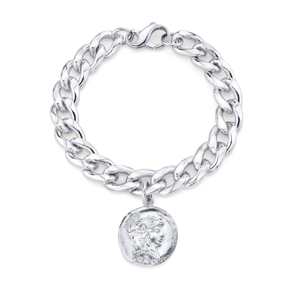 Tracee Nichols Chunk Chain Bracelet Sterling Silver with Roman Pendant