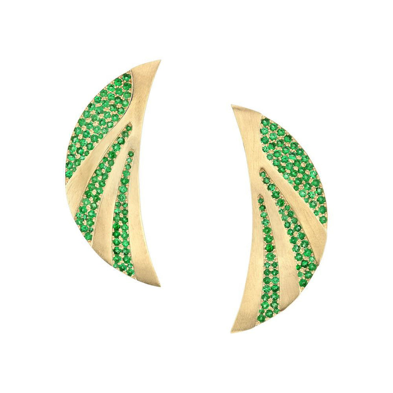 Tracee Nichols Crescent Moon Gold and Emerald Earrings