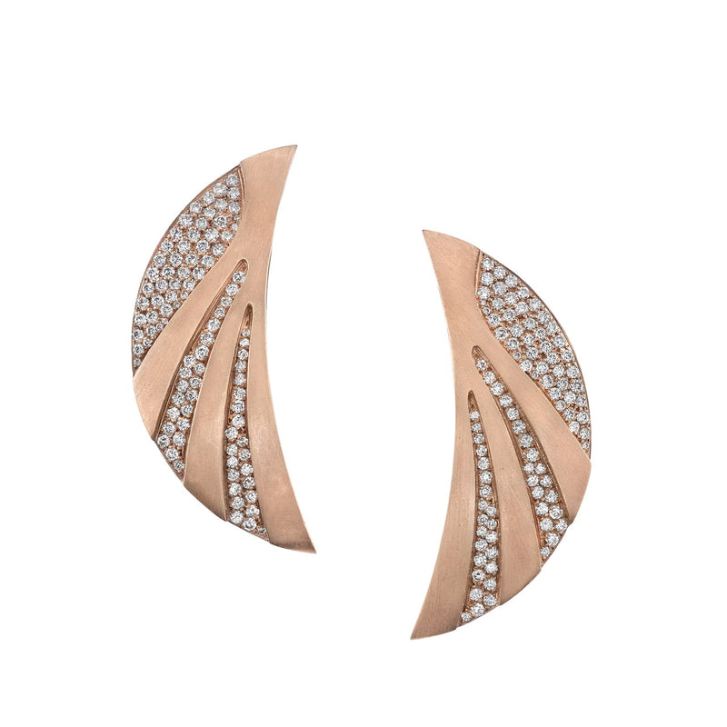 Tracee Nichols Crescent Moon Rose Gold and Diamond Earrings