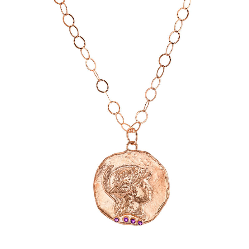 Tracee Nichols Large Roman Necklace 14k Rose Gold With Amethyst