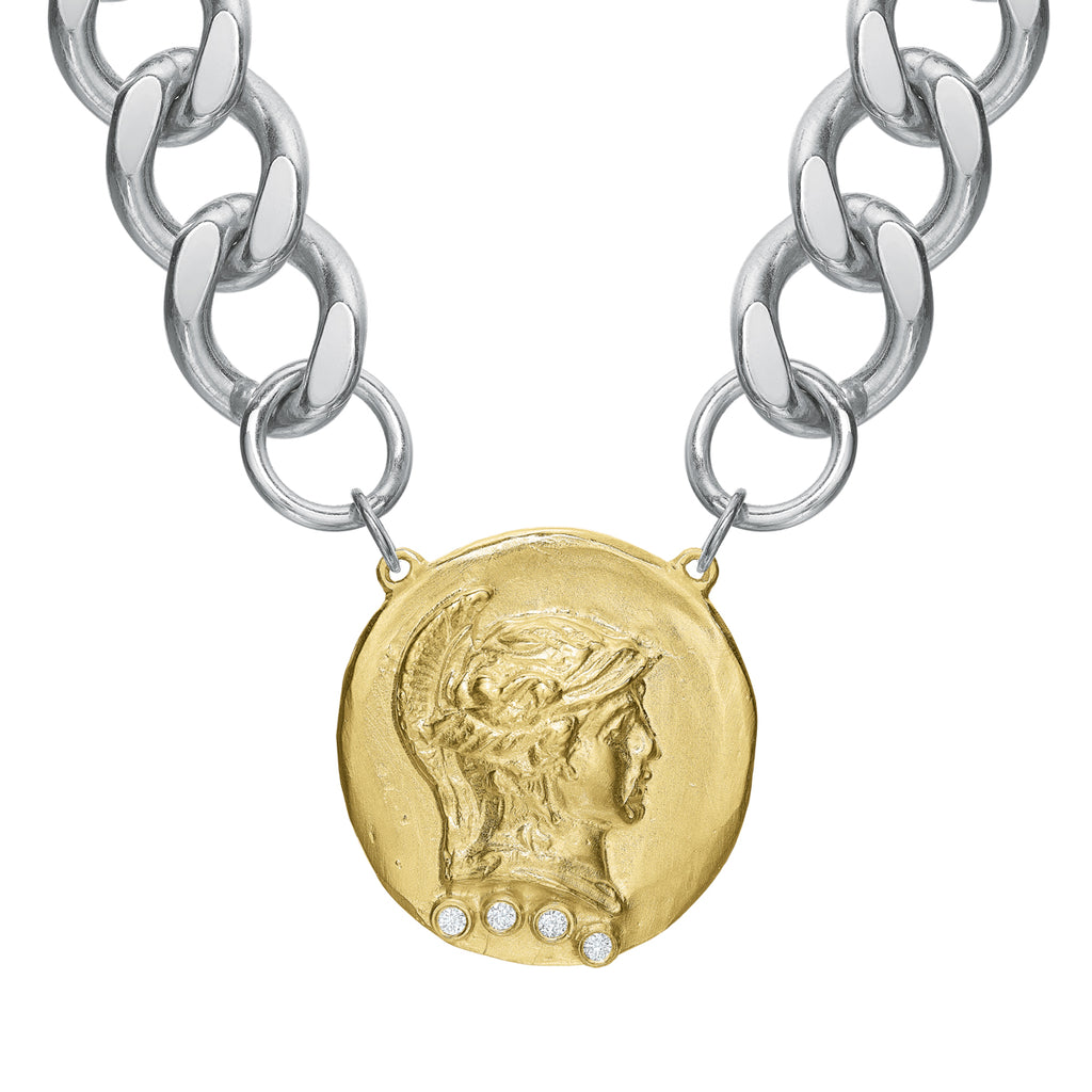 The Roman Chunk Chain Choker 14k Gold Dipped with Diamonds