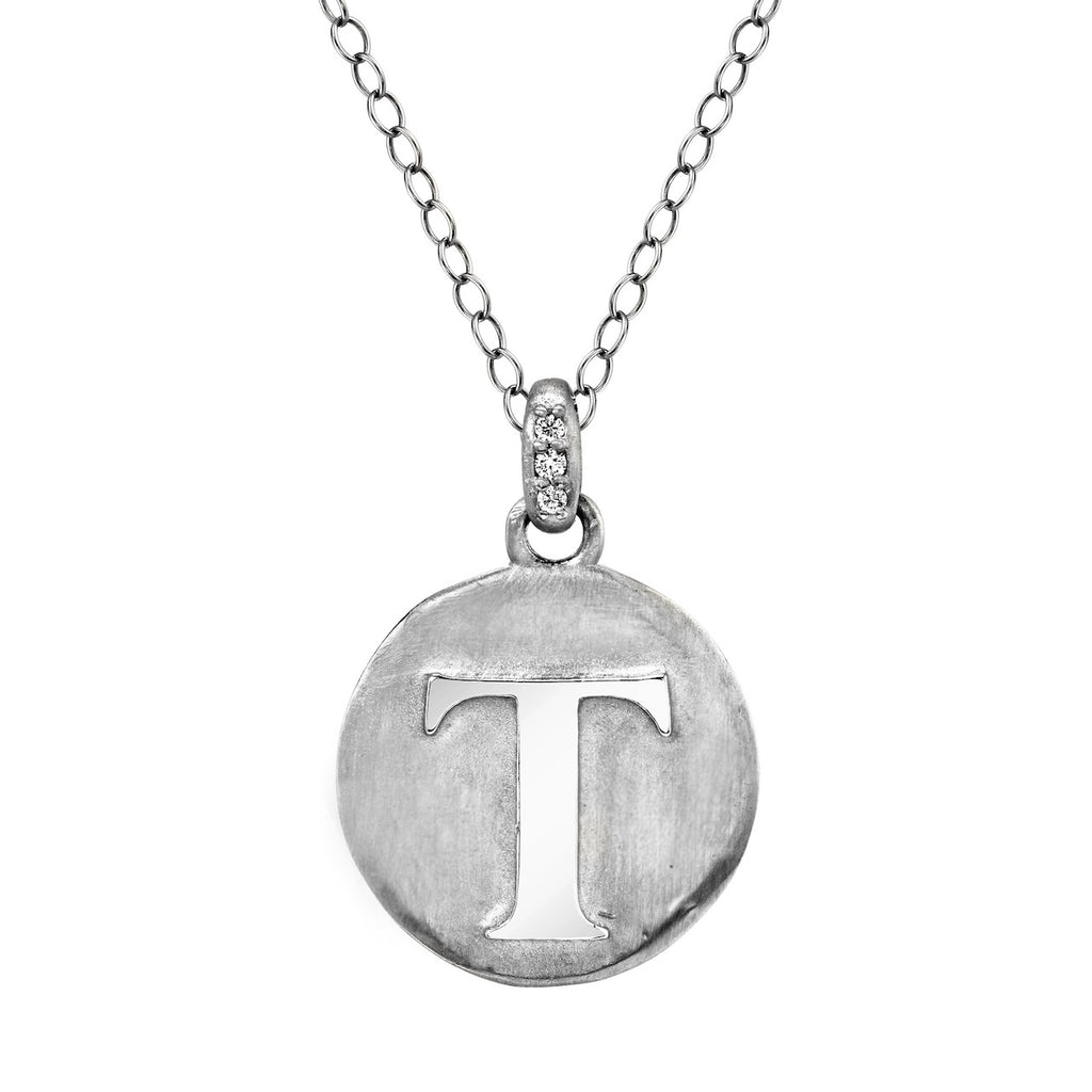 Tracee Nichols The Initial Token Necklace Silver Front