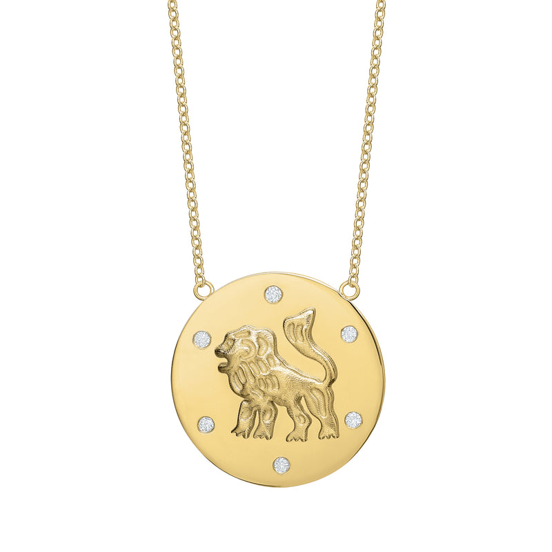 Tracee Nichols The Majestic Lion Token Necklace Gold With Diamonds