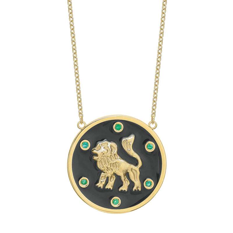 Tracee Nichols The Majestic Lion Token Necklace Gold With Emeralds
