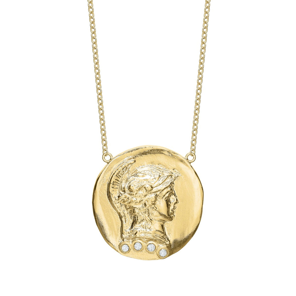 Tracee Nichols The Roman Token Necklace 14k Gold With Diamonds