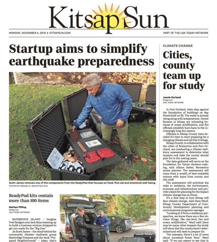 Kitsap Sun newspaper front page features ReadyPod earthquake kits