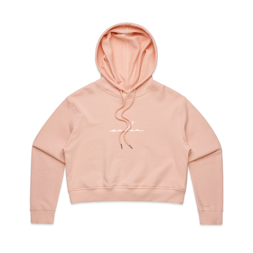 Embroidered Logo Crop Hoodie (Pale Pink)