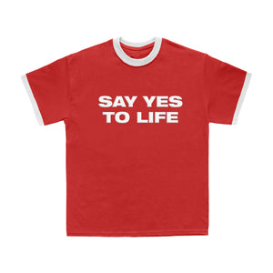 RED SAY YES RINGER TEE