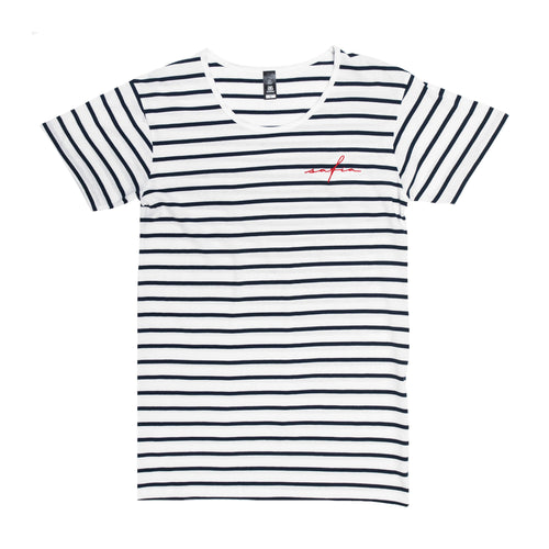Safia Embroidered Striped Tee
