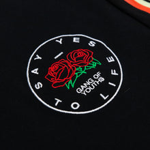 Load image into Gallery viewer, BLACK EMBROIDERED ROSE POCKET LONGSLEEVE TEE