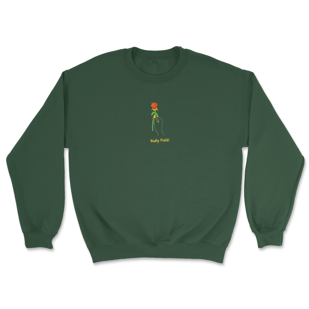 Rose Embroidered Crewneck (Green)