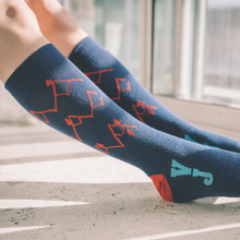 Load image into Gallery viewer, Mountain Sketch Socks (Navy/Red)