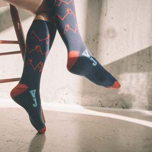 Mountain Sketch Socks (Navy/Red)