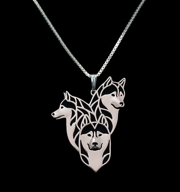 Gold & Silver Siberian Husky Family Necklace