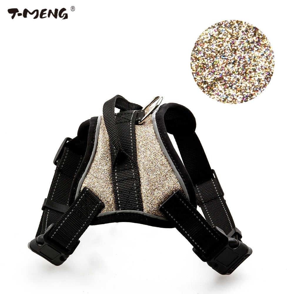 T-MENG Pet Products For Puppy Small Dog Harness Chihuahua Chest Straps Vest Lead K9 Mesh Shining Large Dog Harnesses Accessories