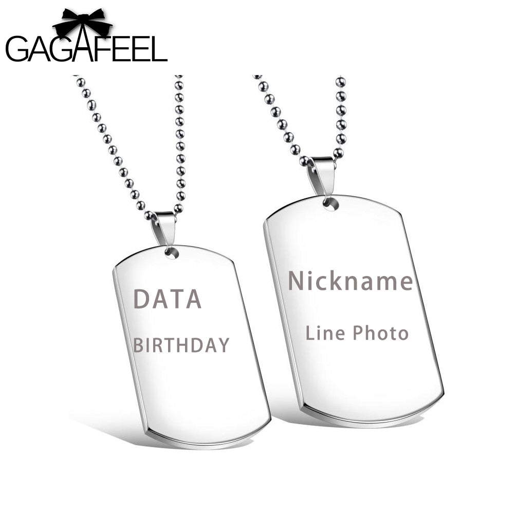 Custom Engrave Military Dog Tag Necklace