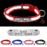 Reflective Cat Collar Small Dog Cats Collars Personalized Puppy Collar Customized Kitten Collar with Bell XS S