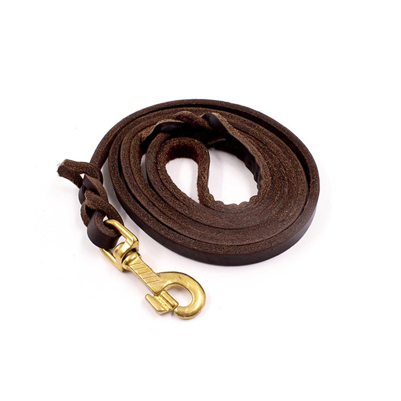 German Shepherd leather rope golden head layer with bovine pila large dog leash  outdoor traction belt dog leather rope leathers