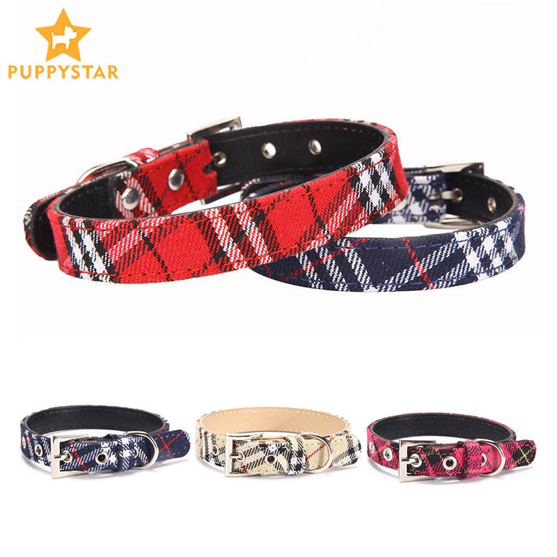 Plaid Dog Collar Adjustable Basic Dog Collars For Small Medium Dogs Cats Pet Leashes Lead Rope Puppy Collars Pet Products JW0044