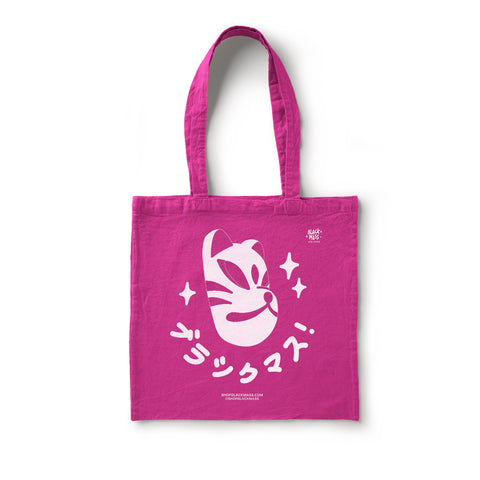Kitsune Kana Screen Print Black Tote Shopper Bag (Pink)