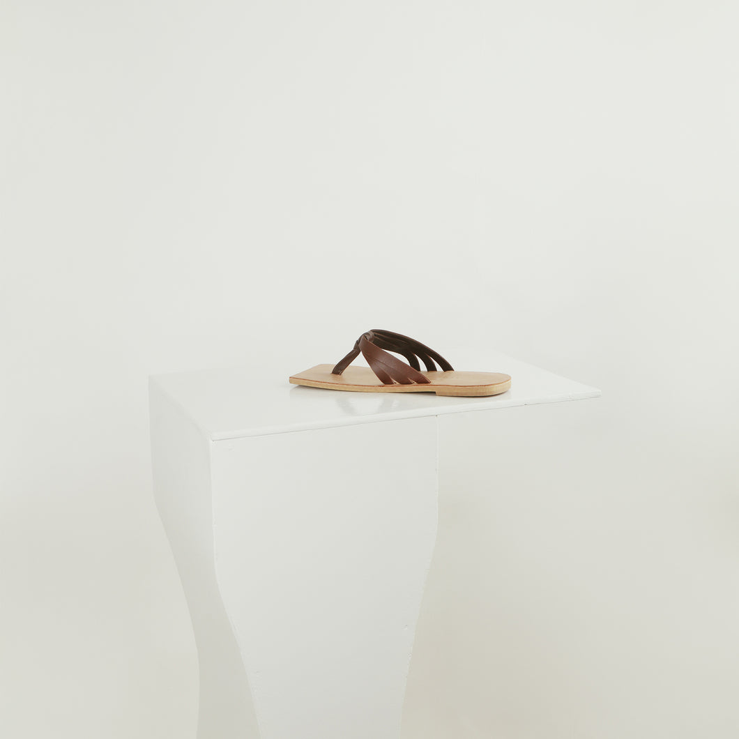 Aloy- Nude calf leather slip on sandals