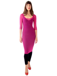 THE MESH DRESS - SCOOP NECK - THREE QUARTER SLEEVE