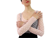 Load image into Gallery viewer, THE POLKA DOT MESH CROP SHIRT - SCOOP NECK - LONG SLEEVE