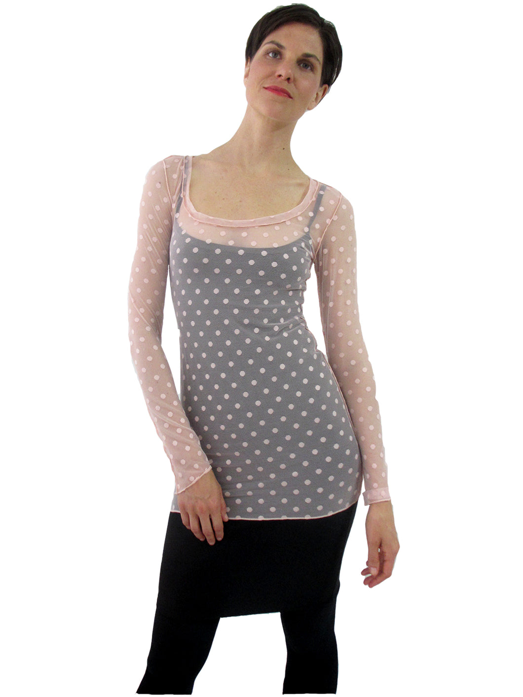 THE POLKA DOT MESH SHIRT - SCOOP NECK - LONG SLEEVE