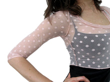 Load image into Gallery viewer, THE POLKA DOT MESH CROP SHIRT - SCOOP NECK - THREE QUARTER SLEEVE