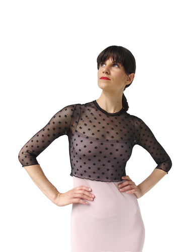 THE POLKA DOT MESH CROP SHIRT - CREW NECK - THREE QUARTER SLEEVE