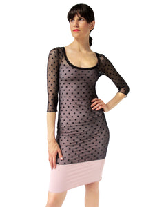 THE POLKA DOT MESH SHIRT - SCOOP NECK - THREE QUARTER SLEEVE