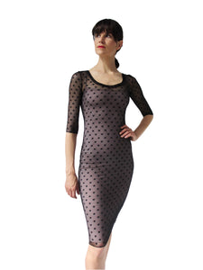THE POLKA DOT MESH DRESS - SCOOP NECK - THREE QUARTER SLEEVE